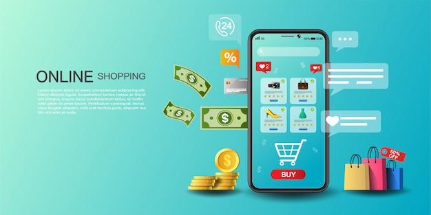 Online winkelen op applicatie- en websiteconcept