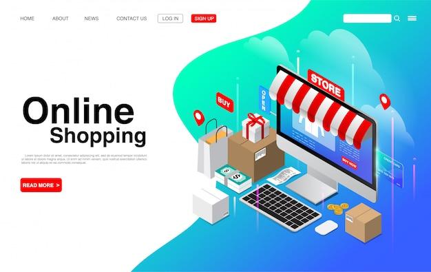 Online winkelen op computerdesktop