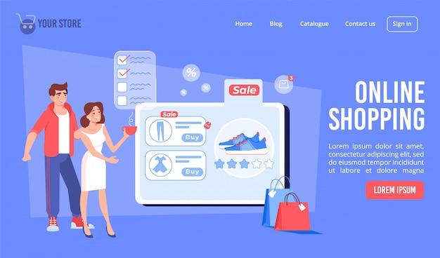 Online winkelen op de bestemmingspagina van de internetwinkel