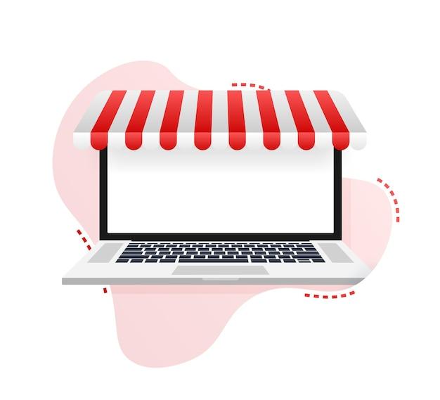 Online winkelen op de website. online winkel, winkelconcept op laptopscherm. vector illustratie.