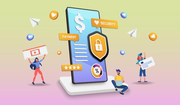 Online winkelen op een mobiele telefoon met karakter. illustratie
