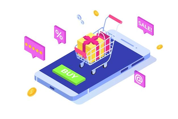 Online winkelen op het isometrische concept van de mobiele telefoon