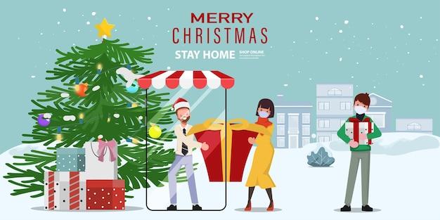 Online winkelen op kerstfestival.