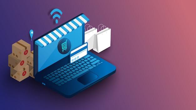 Online winkelen op laptop met snel transport