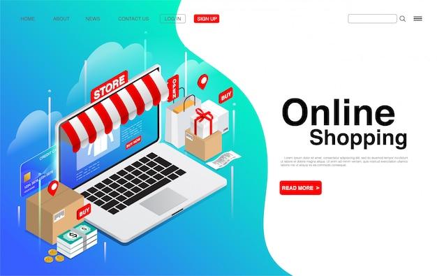 Online winkelen op laptop.