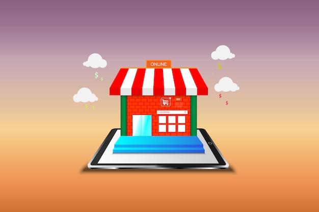 Online winkelen op mobiel. vector