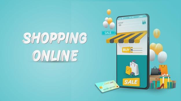 Online winkelen op mobiele applicatie concept marketing en digitaal