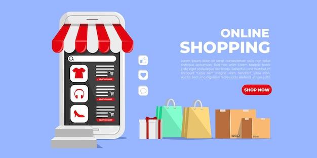 Online winkelen op mobiele applicaties of banner van websites
