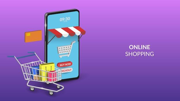 Online winkelen op mobiele illustratie voor web of mobiele app