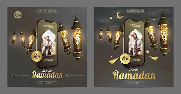 Online winkelen op mobiele speciale ramadan-uitverkooppromo