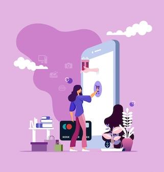 Online winkelen op mobiele telefoon concept