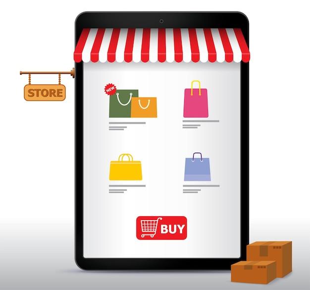 Online winkelen op tabletcomputer en toepassingsillustratie. e-commerce en digitaal marketingconcept.