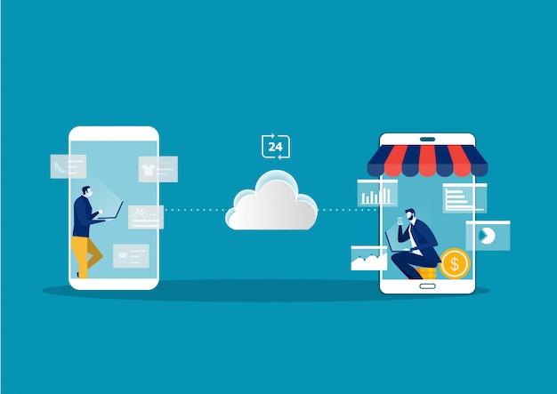 Online winkelen op website met online winkels en e-commerce.