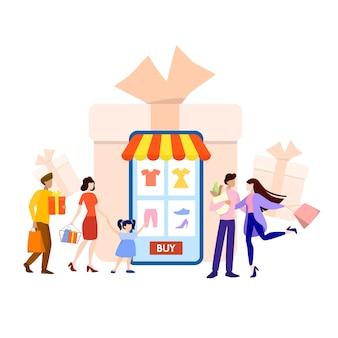 Online winkelen op website of app. koop kleding online. e-commerce en bezorgingsconcept. bestel goederen en ontvang ze snel en gemakkelijk. illustratie