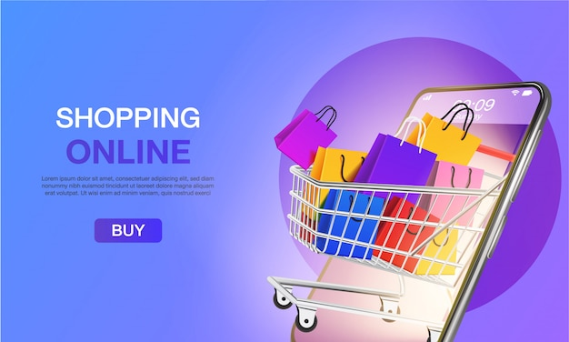 Online winkelen op website of mobiele applicatie bestemmingspagina concept marketing en digitale marketing.
