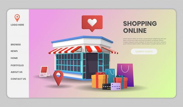 Online winkelen op website of mobiele applicatie met winkelretail conceptmarketing en digitale marketing.