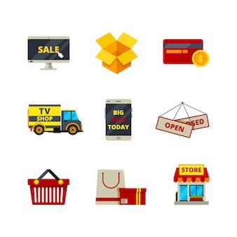 Online winkelen pictogram. webwinkel betaalkaarten geld winkel e-commerce computer symbool verkoop producten diensten vector platte afbeeldingen
