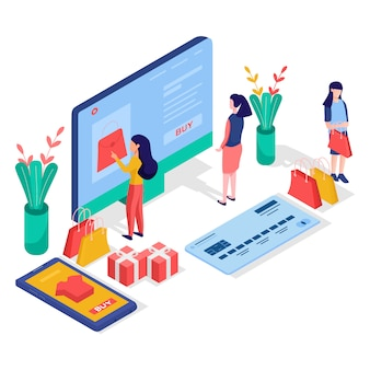 Online winkelen plat concept