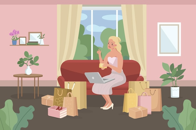 Online winkelen plat. e-commerce aankopen. vrouw die van huis koopt.