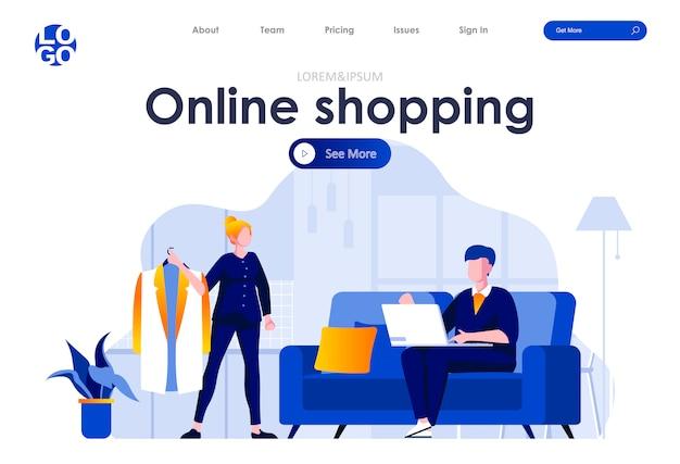 Online winkelen platte bestemmingspagina ontwerp websjabloon
