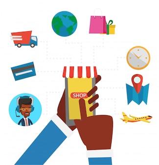 Online winkelen platte ontwerp illustratie.