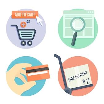 Online winkelen platte ontwerp pictogrammen voor online winkel, toevoegen aan tas, betalingsmethoden en levering