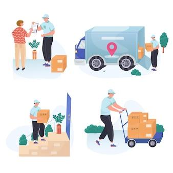 Online winkelen platte ontwerpset illustraties