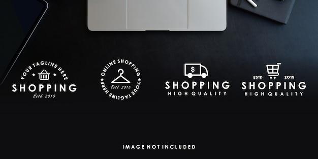 Online winkelen premium logo ontwerpsjabloon