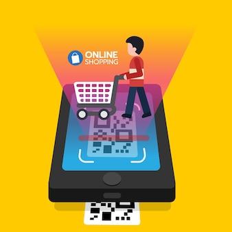 Online winkelen qr-code scannen op smartphonescherm met winkelwagentje voor de consument