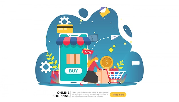 Online winkelen sjabloon voor spandoek. bedrijfsconcept voor verkoop e-commerce.