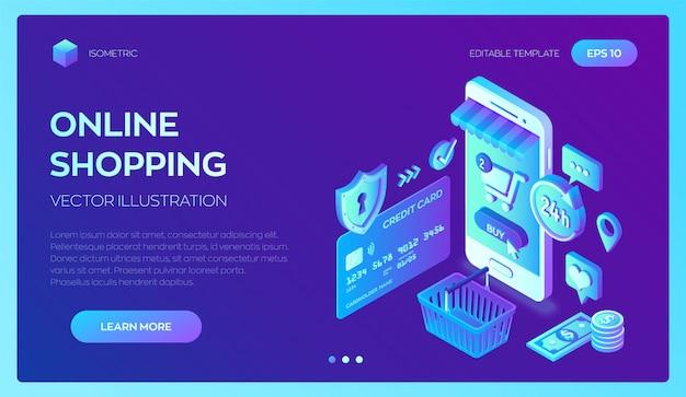 Online winkelen. smartphone. 3d isometrische bankkaart, geld en boodschappentas.