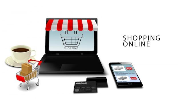 Online winkelen, smartphone en winkelwagen met producten met blauwe achtergrond