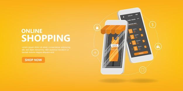 Online winkelen sociale media mobiele applicaties websites concept.