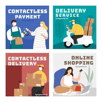 Online winkelen tijdens de coronaviruspandemie-sjabloon