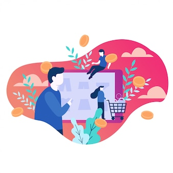 Online winkelen vectorillustratie