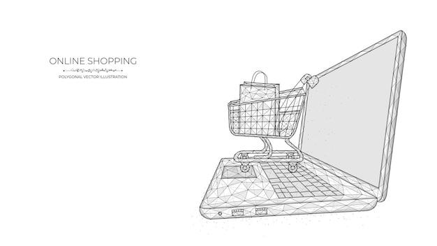 Online winkelen. veelhoekige illustratie van een laptop en een winkelwagentje op een blauwe achtergrond. e-commerce winkelconcept.