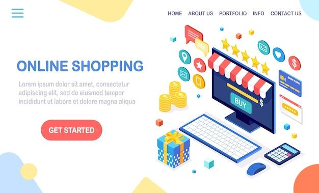 Online winkelen, verkoop. koop in de winkel via internet. isometrische computer, laptop met geld, creditcard, klantrecensie, feedback, geschenkdoos, verrassing.