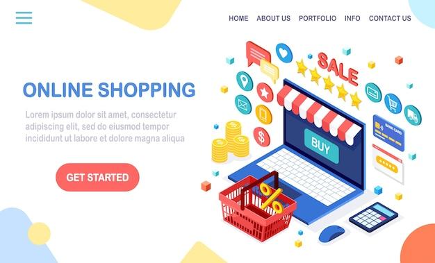 Online winkelen, verkoop. koop in de winkel via internet. isometrische computer, laptop met mand, geld, creditcard, klantrecensie, feedbackster, rekenmachine.