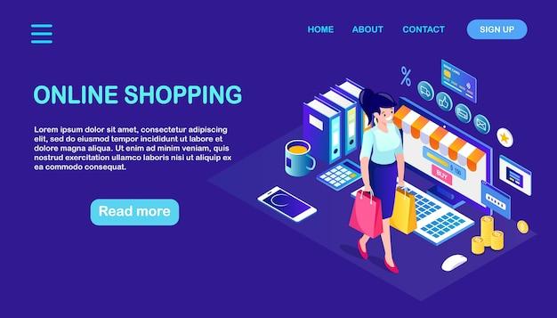 Online winkelen, verkoop. koop in de winkel via internet. isometrische vrouw met tas, computer, geld
