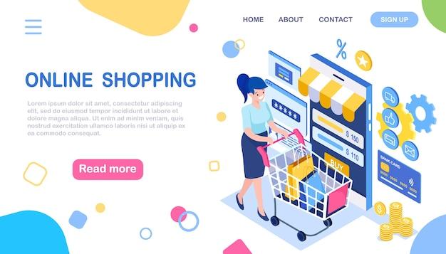 Online winkelen, verkoop. koop in de winkel via internet. isometrische vrouw met winkelwagentje, trolley