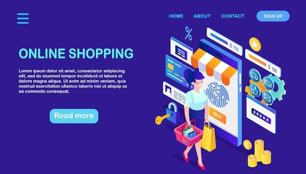 Online winkelen, verkoop. koop in de winkel via internet.