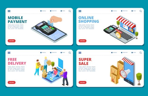 Online winkelen, verkoop, levering isometrische bestemmingspagina-sjablonen