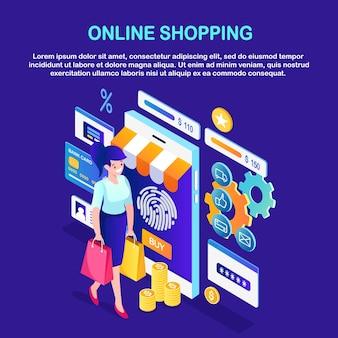 Online winkelen, verkoopconcept. isometrische vrouw met tas, mobiele telefoon, geld, creditcard, recensies van klanten
