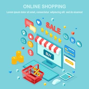 Online winkelen, verkoopconcept. koop in de winkel via internet. isometrische computer, laptop met mand, geld, creditcard, klantrecensie, feedbackster. voor webbanner