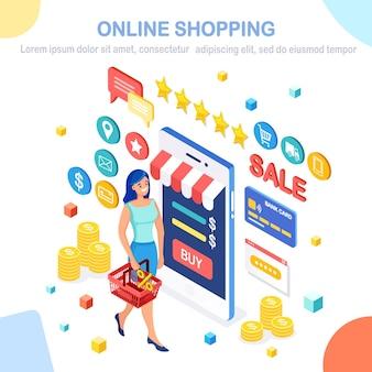 Online winkelen, verkoopconcept.