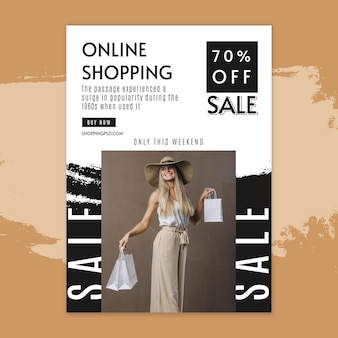 Online winkelen verticale flyer