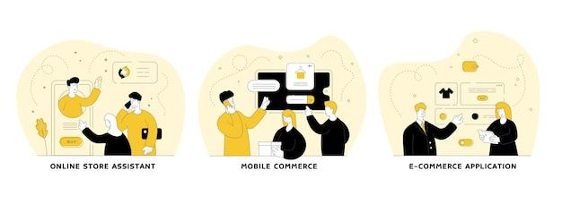 Online winkelen vlakke lineaire afbeelding instellen. online winkelmedewerker, mobiele handel, e-commercetoepassing. mobiele winkel-applicatie. mannen en vrouwen stripfiguren