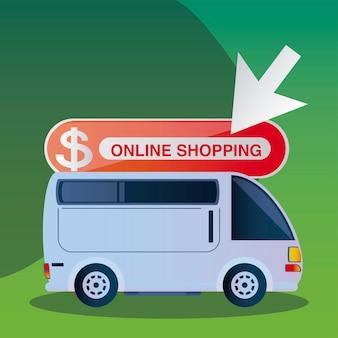 Online winkelen vrachtwagen, koeriersdienst illustratie