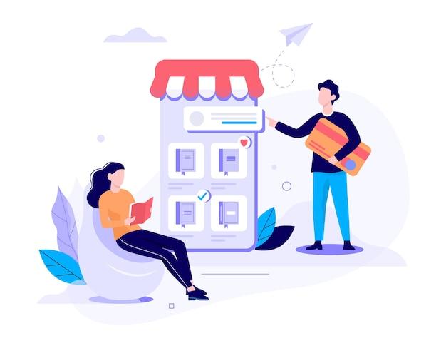 Online winkelen webbanner concept. e-commerce, klant in de uitverkoop. app op mobiele telefoon. boekwinkel. illustratie in stijl