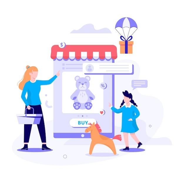 Online winkelen webbanner concept. e-commerce, klant in de uitverkoop. app op mobiele telefoon. kinderwinkel. illustratie in stijl